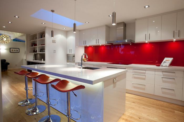 Ferrarini red glass backsplash kitchen