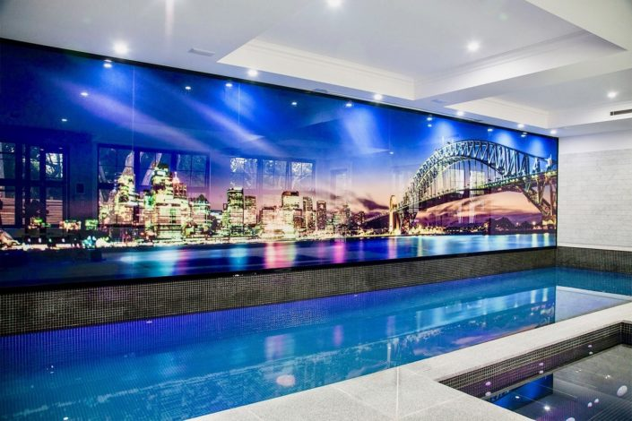 Prints On Glass Poolside Feature Wall