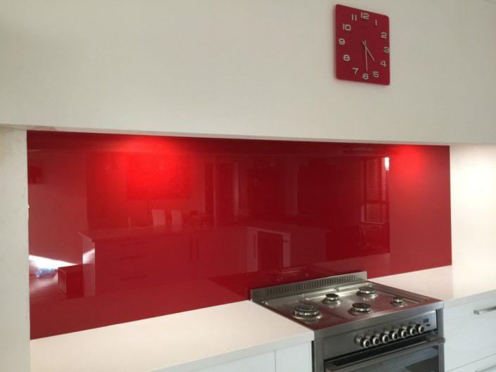 Red Glass Kitchen Backsplash