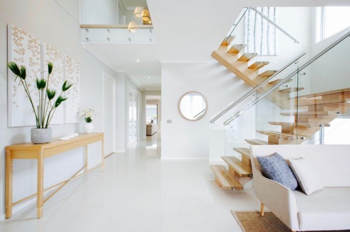 Wood and glass staircase railing-designs staircase contemporary with light wood console table glass stair railing