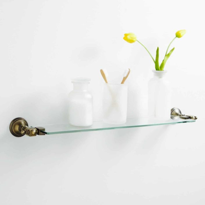 antique brass glass shelf new york