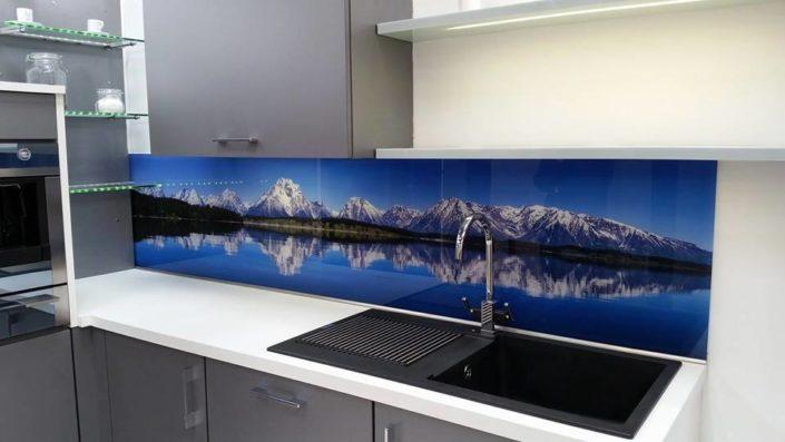 custom glass design printed backsplash for kitchen