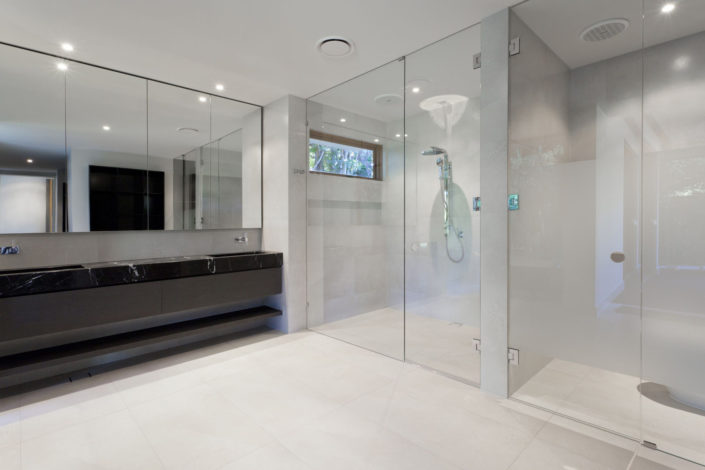 frameless shower door bathroom mirrors