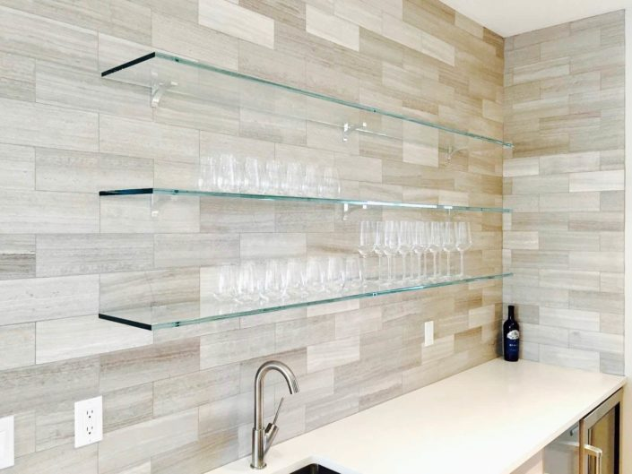 glass shelves in the kitchen