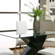 glass table top Manhattan slider