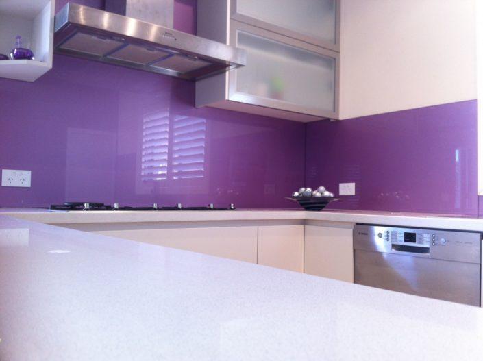 Purple Glass Kitchen Backsplash