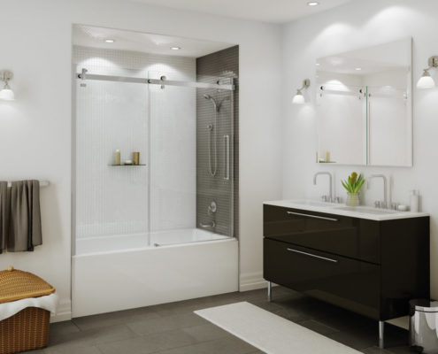 sliding shower door interior